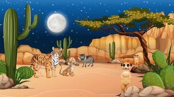 animais vivem na paisagem da floresta do deserto à noite vetor