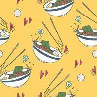 padrão de comida japonesa tradicional sem costura vetor