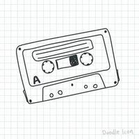doodle retrô fita cassete de áudio vetor