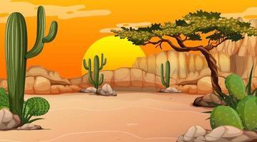 paisagem de floresta desértica na hora do pôr do sol com muitos cactos vetor