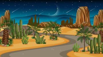 cena com estrada pela floresta do deserto vetor