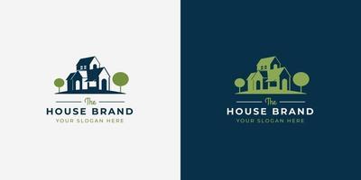design de logotipo de estilo espaço negativo de casa vetor