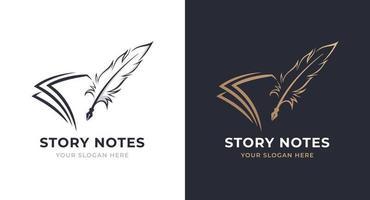 design do logotipo da nota e pena vetor