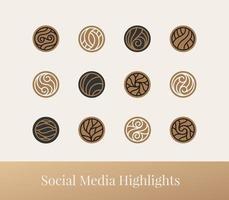 conjunto de ícone de linha abstrata destacado para mídia social vetor