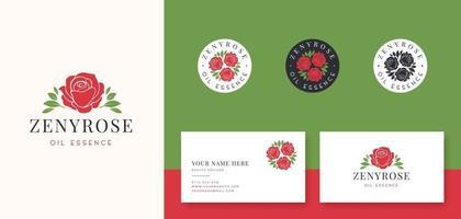 logotipo da rosa vermelha e crachá com cartão de visita vetor