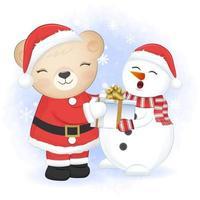urso e presente com boneco de neve, temporada de natal no fundo do inverno vetor