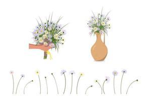 mãos com margaridas. entrega de um buquê e flores em um vaso ou jarro vetor