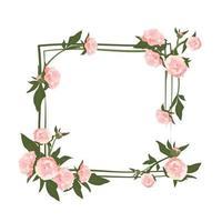 coroa de peônia. moldura quadrada, lindas flores rosa e folhas vetor