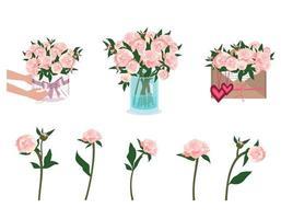 mãos com buquê de peônias. flores em um vaso, envelope e caixa redonda vetor