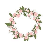 peônias de moldura redonda. composição de floração rosa primavera com botões vetor