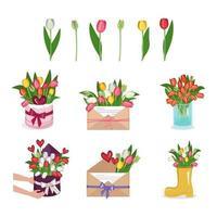 um conjunto de tulipas, flores em uma caixa redonda, vaso e envelope vetor