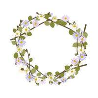 coroa de margaridas. moldura redonda, flores roxas e brancas fofas de camomila vetor
