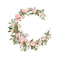 uma coroa de peônias. moldura redonda, flores rosa fofas e folhas vetor
