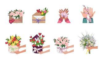 um conjunto de flores em uma caixa redonda, envelope e nas mãos vetor