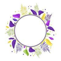 coroa de folhas de palmeira. moldura redonda de folhas exóticas brilhantes vetor