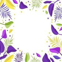 bandeira em folha de palmeira. moldura de folhas exóticas brilhantes vetor