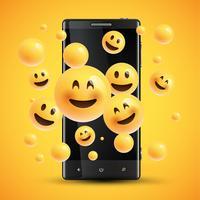 Realistas emoticons amarelos felizes na frente de um celular, ilustração vetorial