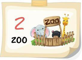 animal, letra z, do alfabeto, para ilustração vetorial de zoológico vetor