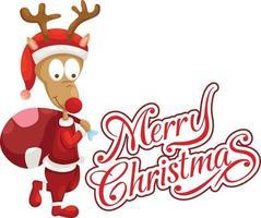 vetor de tipografia veado e feliz natal