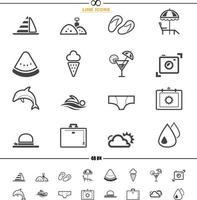 conjunto de ícones de verão vetor