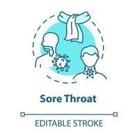 ícone do conceito de dor de garganta vetor