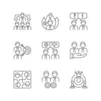 equipe trabalhando conjunto de ícones lineares vetor