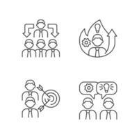 trabalhando juntos conjunto de ícones lineares vetor
