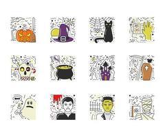 conjunto de vetores de cenas de halloween em estilo de linha plana