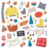 conjunto de elementos da moda aconchegantes da temporada de outono vetor