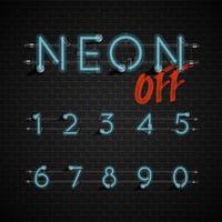 Conjunto de fontes de néon altamente detalhadas, ilustração vetorial vetor