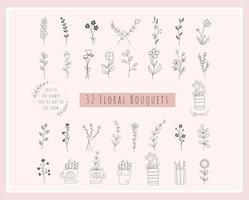 Pacote de 32 buquês de flores. flores desenhadas à mão, minimalistas, flores silvestres vetor