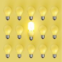 Lâmpada de poupança de energia entre os antigos, ilustração vetorial
