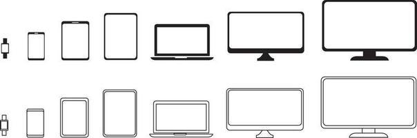 conjunto de ícones do dispositivo. coleção de dispositivos vetor