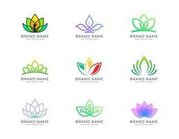 conjunto simples e bonito de coleção de logotipo colorido de lótus vetor
