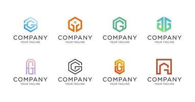 conjunto de coleção do logotipo da letra g simples e minimalista vetor