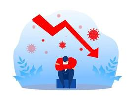 empresário estresse e queda do gráfico de barras insatisfeito, vetor