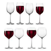 vetor de copo de vinho de transparência vazio e total