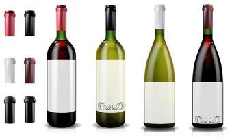 garrafas de vinho tinto e branco. gorros ou mangas, fechando a rolha. vetor