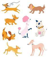 conjunto de cães de diferentes raças. animais engraçados. vetor