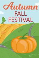 abóbora outono outono festival. paisagem rural com estrada, colina vetor
