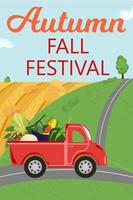 outono outono festival. caminhão vermelho com colheita de vegetais na estrada vetor