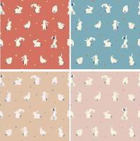 Ilustração em vetor coelho fofo e simples padrão sem emenda