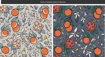 caneta desenho contorno laranja flores silvestres ilustração padrão sem emenda vetor
