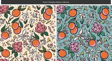 contorno laranja e flores silvestres ilustração motivo padrão sem emenda vetor