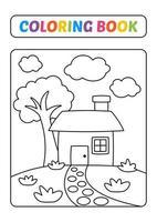 livro de colorir para crianças, vetor de casa