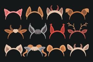 Conjunto de tiara fofa de desenho animado com orelhas vetor