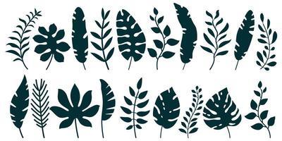 conjunto de silhuetas negras de folhas tropicais vetor
