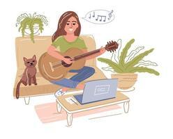 foco seletivo de jovem tocando violão perto do laptop vetor