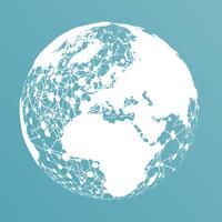 Mundo pontilhado com conexões, ilustração vetorial