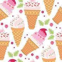padrão sem emenda de desenhos animados com sorvete em cones de waffle. vetor